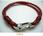 Stainless steel with genuine leather bracelet
